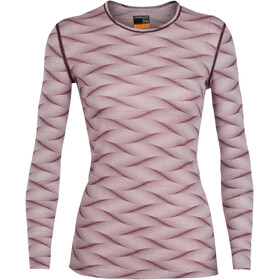 Icebreaker W's 200 Oasis Curve LS Crewe Shirt Blush Heather/Velvet